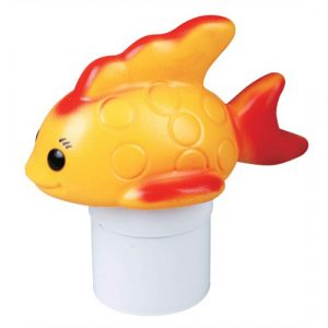 FLOATING CHLORINE DISPENSER WITH GOLD FISH